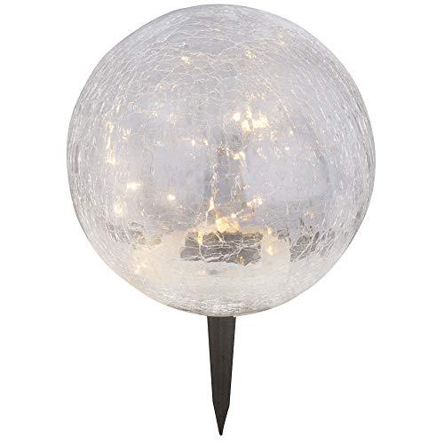LED Solar Lampe Außen Steck Erd Spieß Leuchte Garten Glas Kugel Strahler weiß Globo 33303