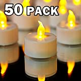YIWER Tea Lights LED Tea Light Candles 100 Hours Pack of 50 Realistic Flickering Bulb Battery Operated Tea Lights for Seasonal Festival Celebration Electric Candle in Warm Yellow