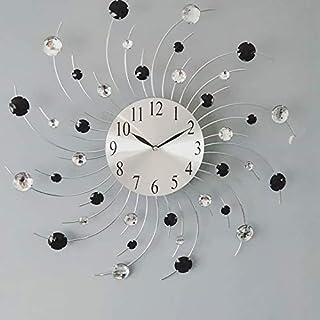 AUDACE DECO Horloge Murale Soleil Strass Noir et Transparent D48.5 cm