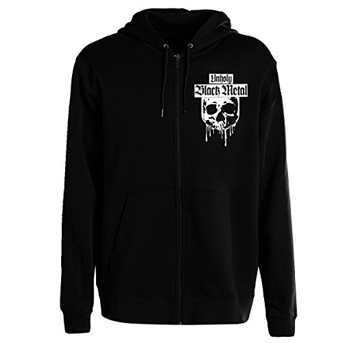 Unholy Black Metal Kapuzenzipper-Jacke (S - XXL) | Hooded Sweat Jacket, Kapu-Zipper, Hoodie Jacke, Hooded Sweatjacke, Sweatshirt mit Reißverschluss (XL)