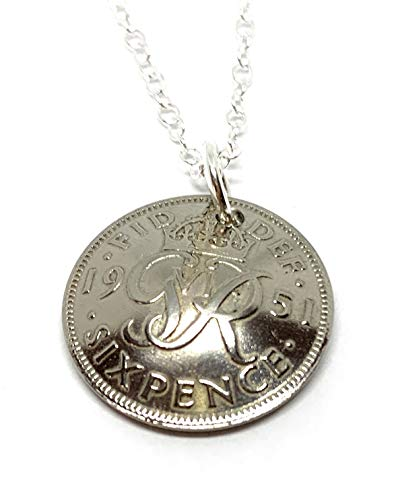 Domed Pendant 1951 Lucky sixpence 69th Birthday plus a Sterling Silver 18in Chain