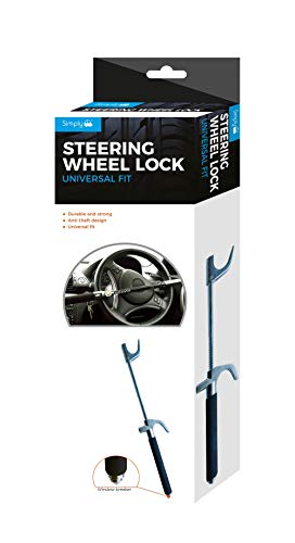 Simply SWL100 Heavy Duty Steering Wheel Lock, Adjustable Hook-Protect Your Vehicle from Theft, Silver