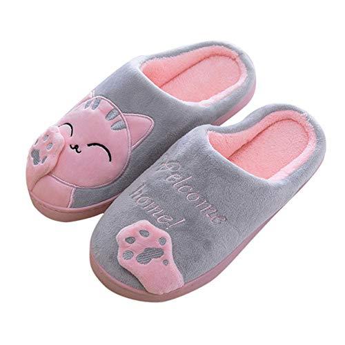 Aniywn Women Winter Home Indoor Warm Fleece Slippers Cat Non-Slip Warm Indoors Bedroom Floor Shoes(Gray,36-37)