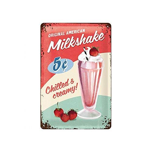 Nostalgic-Art Retro Blechschild Milkshake – Geschenk-Idee für USA-& Diner-Fans, aus Metall, Vintage-Design zur Dekoration, 20 x 30 cm