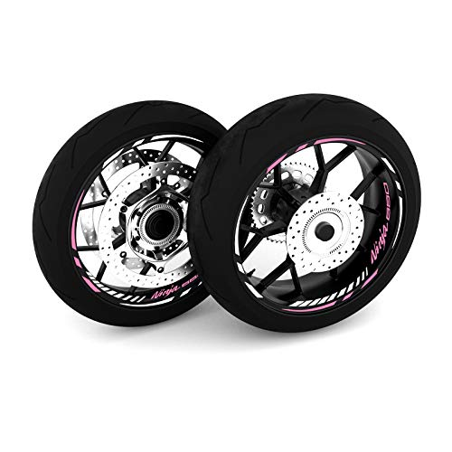 Motostick Graphics Adhesivo adhesivo para rueda compatible con Kawasaki Ninja de 650 pulgadas, pinchos de 4 pulgadas, color rosa