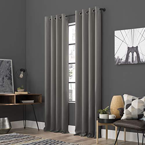 "Sun Zero Soho 2-Pack Energy Efficient Blackout Grommet Curtain Panel Pair, 108"" x 96"", Gray"