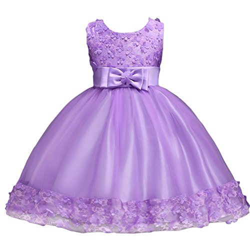 Baby Girl Short Lace Flower Princess Wedding Party Pageant Birthday Tutu Dress Evening Baptism Christening Gowns(12M-10T) Lavender 24 Months