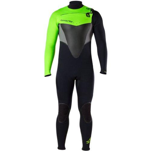 Hyperflex Wetsuits Hombres del vudú 4/3mm Cremallera Frontal Traje, Hombre, Negro/Verde