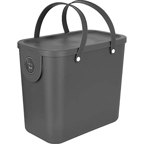 Clas Ohlson Indoor Recycling Bin With Handles - Made Of Recycled PP Plastic, Compost Bin, Food Caddy (grey, 25l)