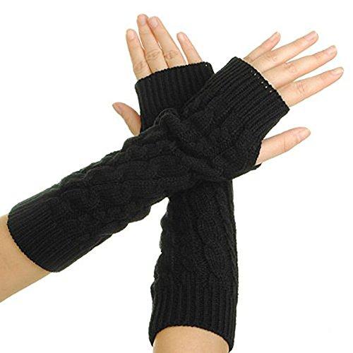 Femmes Dame Knitted Crochet Sans Doigts Gants Gants d'hiver Bras chaud long Stretchy la main chauffe-pieds Doux Moufles, noir