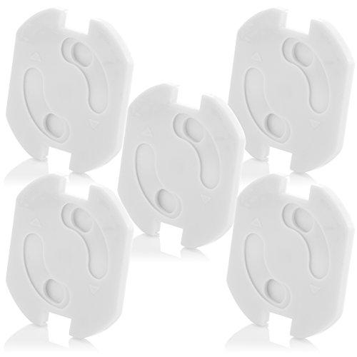 deleyCON 5x Kindersicherung für Steckdosen und Steckdosenleisten mit Drehmechanik Kinderschutz Steckdosenschutz Steckdosensicherung Baby Kleinkinder