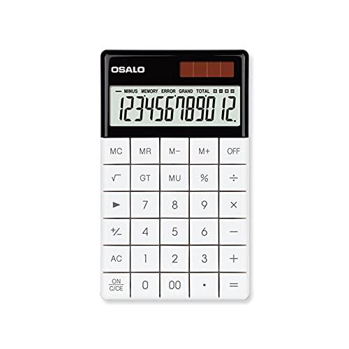 QINGQING Calculadora,Teclas de Tableta,calculadora de Barra,Fuente de alimentación Solar Dual,calculadora de Oficina,calculadora aritmética,12 dígitos,Soporte telescópico
