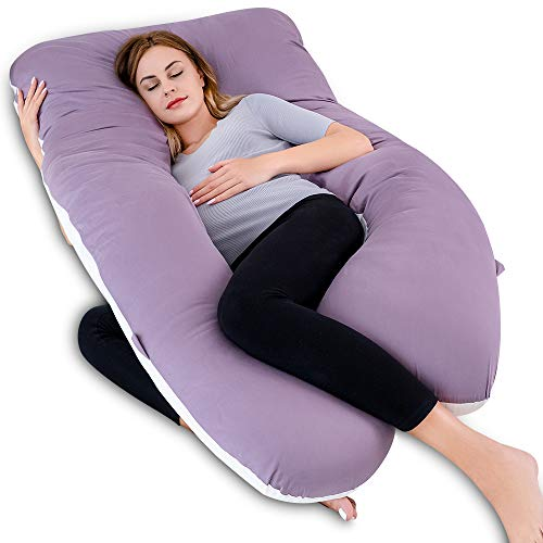 QUEEN ROSE 60in Pregnancy Pillow, U-Shaped Full Body Pillow for Back Support with Satin Cover for Anyone,Purple and White