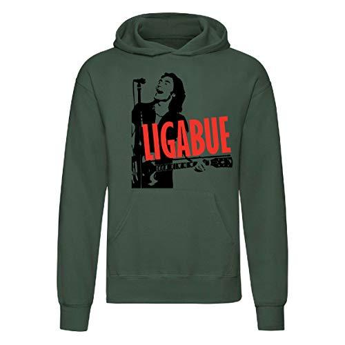 Art T-shirt, Felpa con Cappuccio Ligabue Style, Unisex, Verde Bottiglia, M