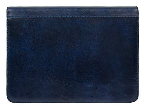 Leather Portfolio Document Folder Handcrafted Case Blue Time Resistance