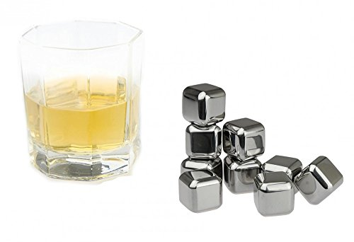 KOBERT GOODS - 4 Whisky-Steine in Farbe Edelstahl Eckig - wiederverwendbare Kühlsteine aus echtem Speckstein od. gebürstetem Edelstahl - Eiswürfelersatz (eckig/ oval) für perfekte Kühlung ohne Verwässerung - mit Stoffbeutel