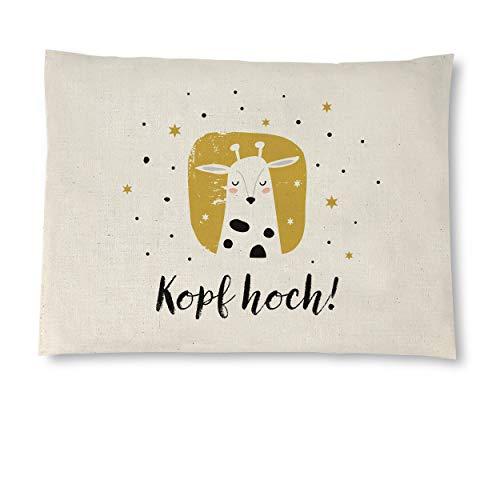 Kirschkernkissen aus naturbelassener Baumwolle, 26x19 cm, Wärmekissen oder Kühlkissen, handgemachte Geschenke, 12 Motive im Handlettering-Stil. Motiv: Kopf hoch
