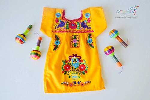 OTOMI MEXICO - Vestido Mexicano para bebé | Vestido Mexicano | Vestido bordado | Vestido Amarillo | Vestido Frida Kahlo | Vestido fiesta Mexicana |