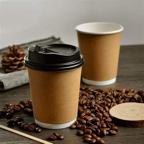 Disposable Bio Paper Coffee Cups (4oz, 8oz, 10oz, 12oz) 50 Pieces Paper Cups + Free 50 Plastic Lids, Single Wall Kraft Brown Bamboo Eco Cup (12oz (100))