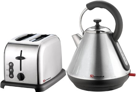 SQPRO 1.8L Traditional Kettle and 2 Slice Toaster in Quartz Silver