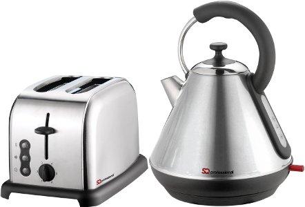 SQPRO 1,8 l Traditioneller Wasserkocher und 2 Toaster in Quarz-Silber