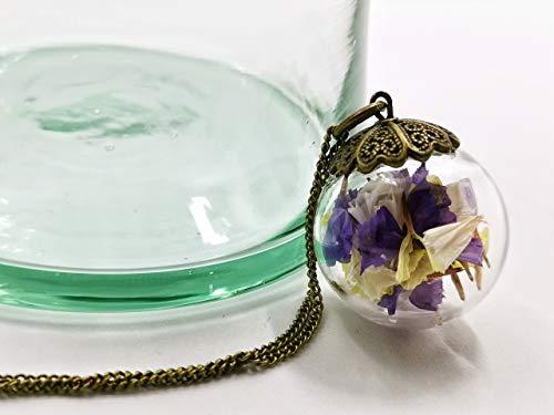 Colgante grande de flores naturales secas de colores - Colgante hippie chic botánico esfera de cristal soplado con pétalos de flores 30mm - Regalo de Cumpleaños Mujer - Prime