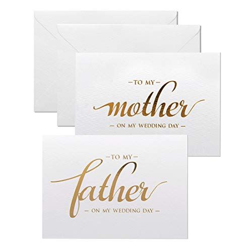 To my mother, to my father wedding day cards set, from daughter, son, gold foiled wedding cards to parents, mom, dad