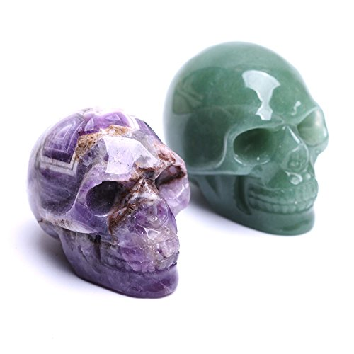 Natural Quartz Skulls 2'' Healing Crystal Stone Human Reiki Skull Figurine Statue Sculptures Mixed Stone(Pack of 2)