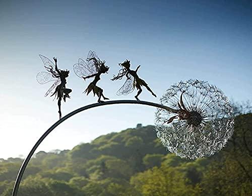 Fairies And Dandelions Dance Together Metal Garden Yard Art Decor Lawn Landscape Sculpture Decoration Indoor Outdoor Lawn Pathway Patio Ornaments, Wind Catcher Yard Patio Decoration (C)