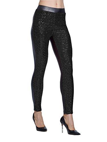 Lotus Instyle Damen Hosen vorne mit Pailletten Leggings Black-M