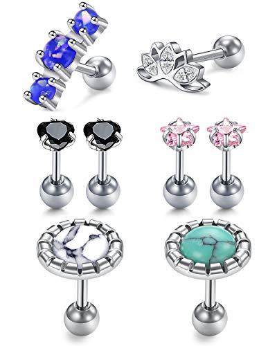 LAURITAMI 8pcs Stainless Steel Helix Earrings Studs Silver Set CZ Diamond 6mm 16G Ear Lobe Barbell Screw Bars Piercing Jewellery Stone Flower