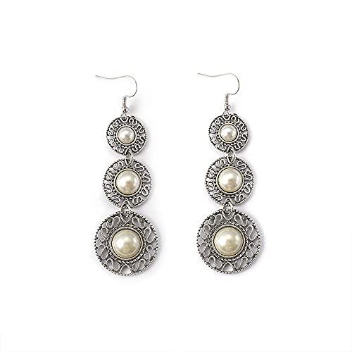 DFDLNL Pendientes Holiday Retro Pendientes de Mujer Pendientes de Sombrero de Perlas de Tres Capas Pendientes de Perlas de Borla Pendientes de Gancho