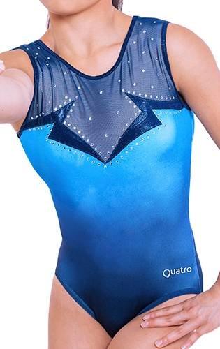 Quatro Mädchen-Trainings-Gymnastikanzug mit kurzen Ärmeln, für Gymnastik, Tanz, Fitnessstudio, Mysterious SS, Marineblau, 61 cm, Größe S, 3–4 Jahre