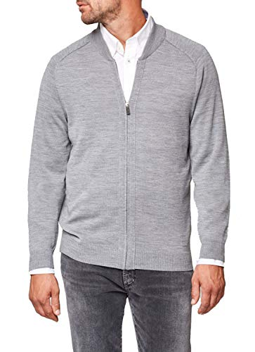 Maerz Herren Strick Blouson, Merino Superwash Strickjacke, Regular Fit, Farbe:grau, Größe:50