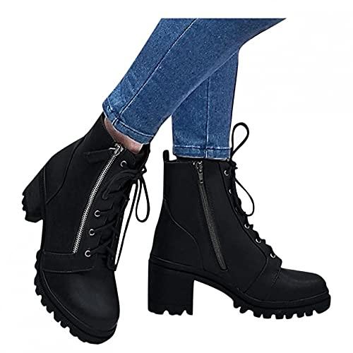 Binggong Schnürstiefelette Damen Gothic Plateau High Heels Stiefel Blockabsatz Stiefeletten Cosplay Ankle Boots Knöchelschuhe Lolita Ankle Boots Reißverschluss Winterstiefel Reitschuhe