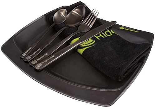 Ridge Monkey SQ DLX Plate Set 2021 Large - Geschirr zum Karpfenfischen, Anglerbesteck, Anglergeschirr, Outdoorbesteck, Teller, Messer & Löffel zum Angeln