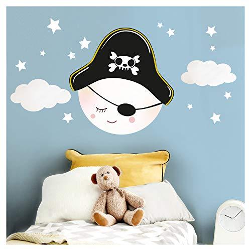 Little Deco DL271 Sticker mural pour chambre d'enfant garçon lune, pirate et nuages I M – 22 x 23 cm (l x h) I Sticker mural Motif chapeau de pirate