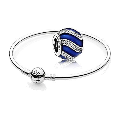 Pandora Original Geschenkset - 1 Silber Armreif 590713-19 + 1 Silber Charm 791991EN118 Weihnachtsornament Blau