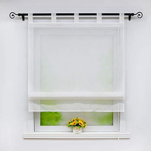 Joyswahl Weißes Raffrollo in Leinen-Optik Leinenstruktur halbtransparentes Raffrollo mit Schlaufen Unifarbiges Schals Fenster Gardine BxH 80x140cm 1 Stück