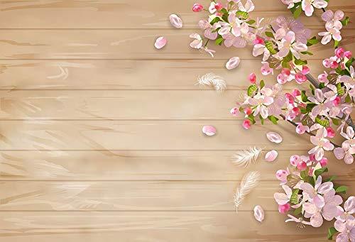 Telones de Fondo Cumpleaños Boda Tablero de Madera Flores de Primavera Tablones con borlas Decoración Fotografía Fondo Estudio fotográfico Photocall A32 9x6ft / 2.7x1.8m