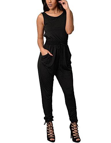 Gladiolus Damen Jumpsuit Rundhalsausschnitt Lang Ärmellos Elegant Einfarbig Taschen Overalls Schwarz L