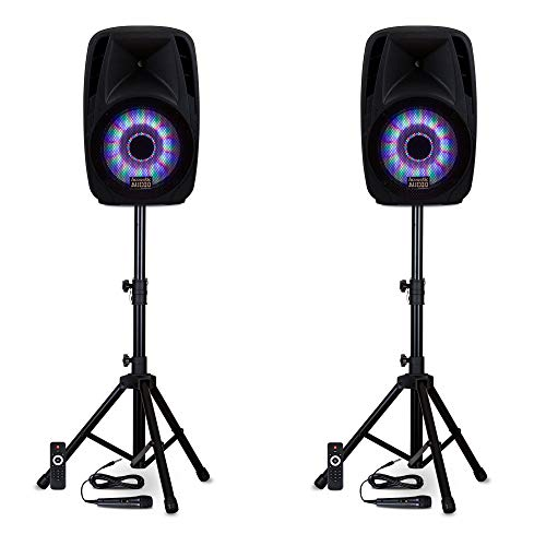 "Acoustic Audio by Goldwood BBQ151 Powered 15"" Bluetooth Wireless Stereo Connection LED Light Display Speakers with Microphones and Stands"