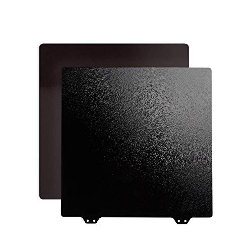 BCZAMD 3D Printer 310 x 310 mm/12.2 x 12.2 Inch Black Double-Sided Textured PEI Spring Steel Sheet Powder Coated PEI Building Plan for CR-10 10S Pro CR-X MP Maker Pro with Magnetic Base Side