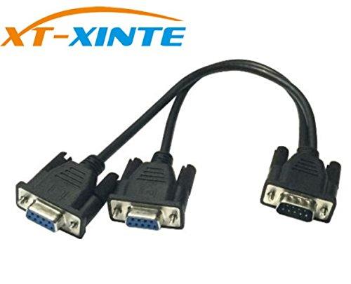 XT-XINTE DB9 9Pin 1 bis 2 Rs232 Serielles Kabel Splitter direkt verbunden COM 2 in 1 Daten Kabel Männlich zu weiblich für die Registrierkasse Kassenanzeige (schwarz)