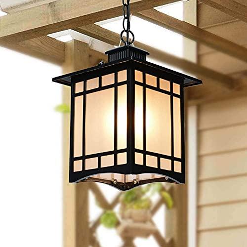 Candelabro Luz de Techo Rústico Exterior Impermeable Iluminación Colgante Resistente a la Lluvia Aluminio a Prueba de óxido Exterior de Metal Lámpara Colgante de Techo Linterna de Vidrio para ent