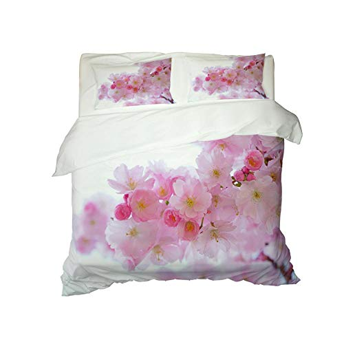 Kekeyt Duvet Cover Sets Peach Blossom Bedding Single Bed Christmas King Size Duvet Cover Sets 3D Hd Printing 200 X 200 Cm-Cotton adult children's bedding