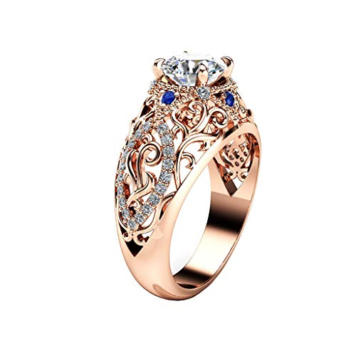 Fantastic Deal! Goddesslili Rose Quartz Ring for Women Girlfriend Rose Gold with Blue Diamond Vintag...