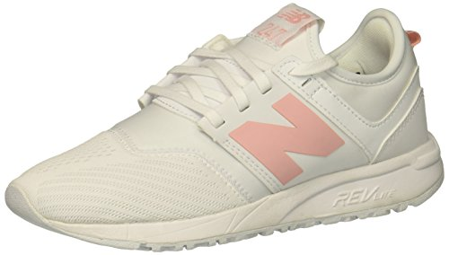 New Balance Women's 247 V1 Sneaker, White/Pink, 8.5 B US