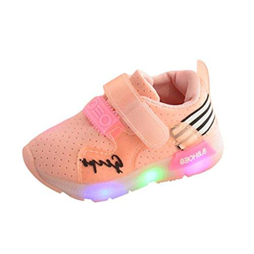 Zapatos Niña,JiaMeng Zapatilla de Deporte para Correr Zapatos de bebé para niñas Zapatos Luminosos LED para niños(Rosado,23)