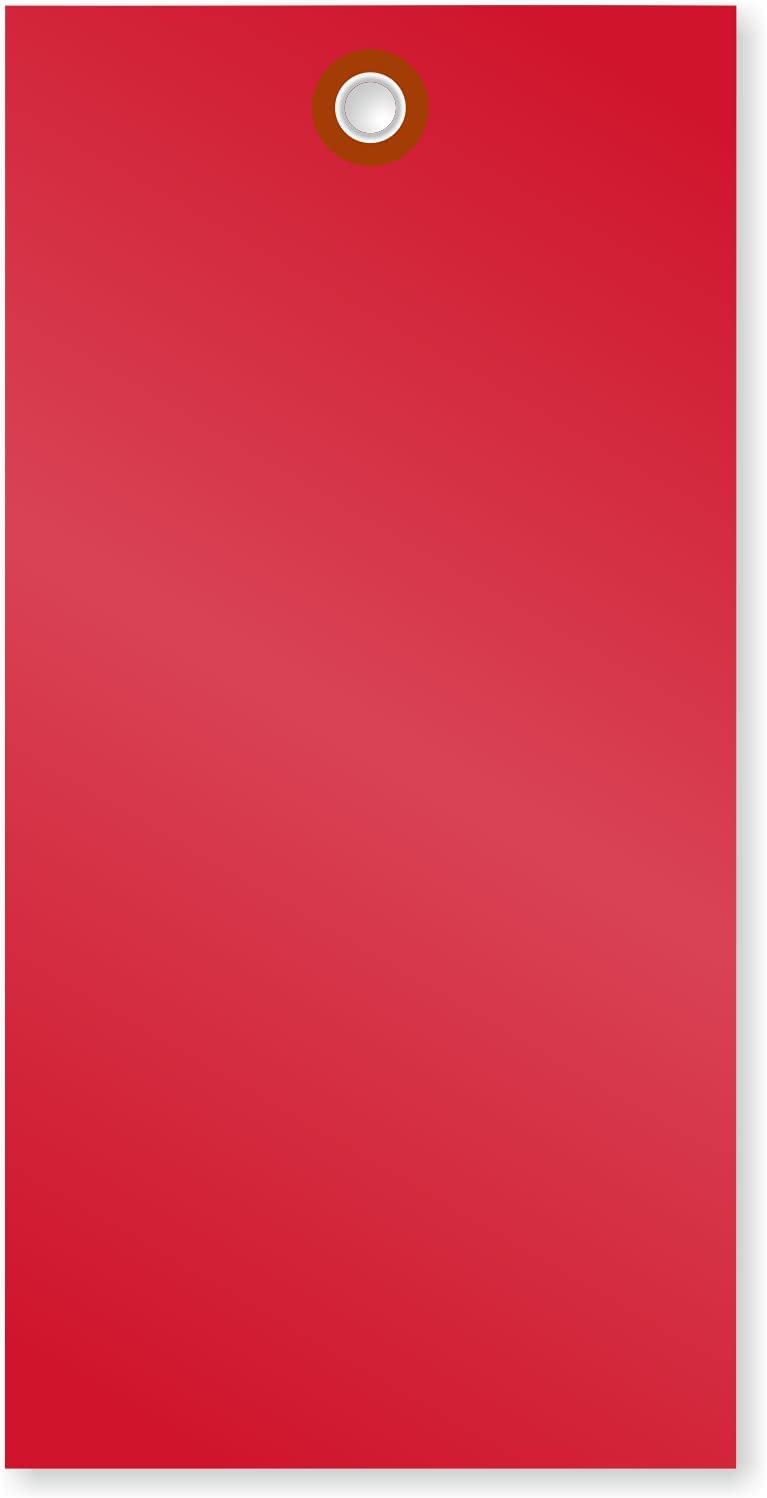 """SmartSign Pack of 100 6.25 x inch Ship Boston Mall Max 61% OFF Tyvek 3.125 Blank """"Red"""""""
